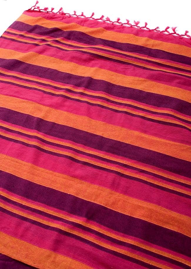 〔260cm×215cm〕カディコットン風マルチクロス - 紫・オレンジ・ピンク系の写真