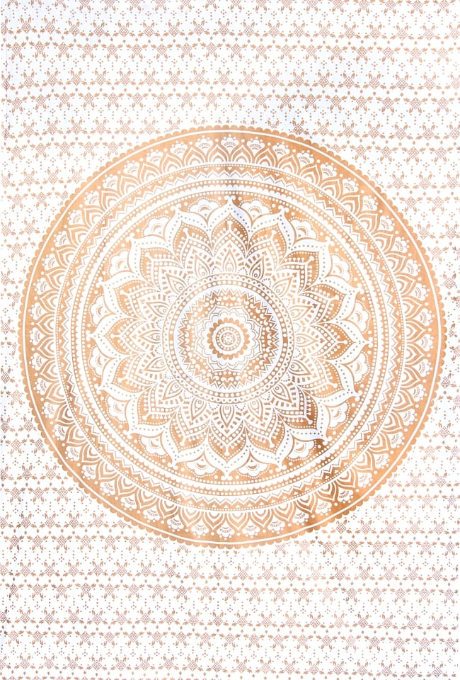 マルチクロス  ホワイト&ゴールドラメマンダラ〔約206cm×約132cm〕の写真