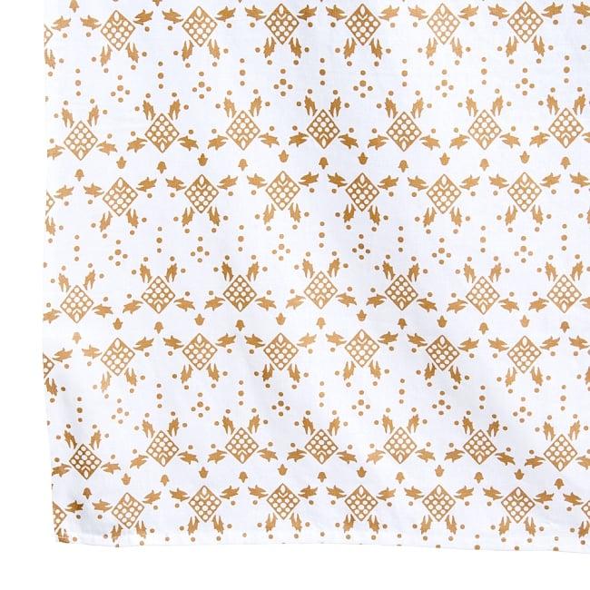 マルチクロス  ホワイト&ゴールドラメマンダラ〔約225cm×約202cm〕 3 - 縁部分の写真です