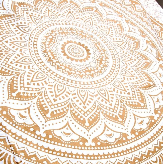 マルチクロス  ホワイト&ゴールドラメマンダラ〔約225cm×約202cm〕 4 - 斜めに撮ってみたところです