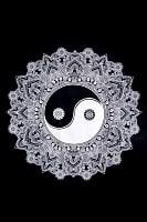 マルチクロス - モノトーン太極図マンダラ〔約199cm×約133cm〕