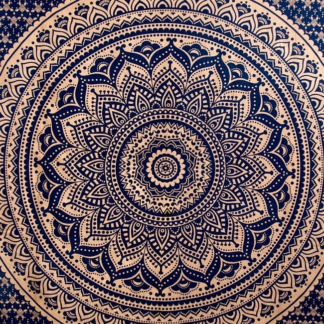 マルチクロス  ネイビー&ゴールドラメマンダラ〔約225cm×約202cm〕 2 - 中心部分の拡大写真です。とても迫力があるデザインです。