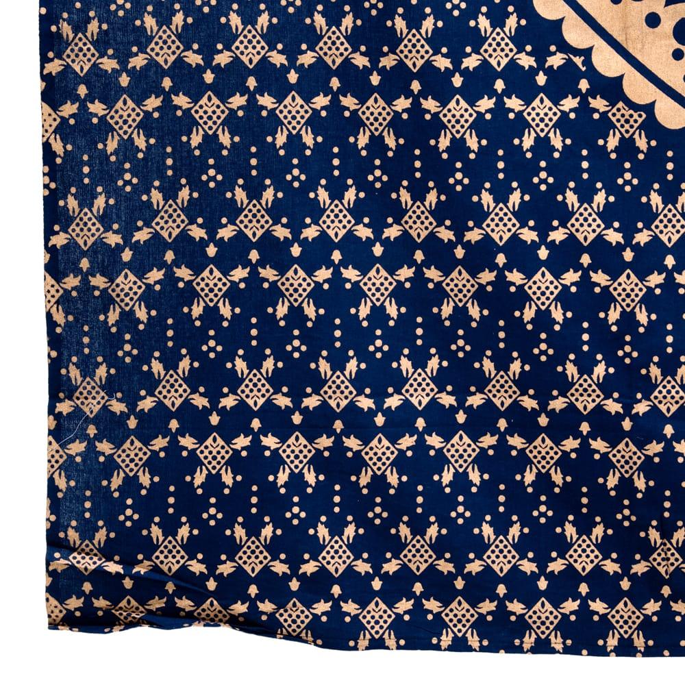 マルチクロス  ネイビー&ゴールドラメマンダラ〔約225cm×約202cm〕 3 - 縁部分の写真です