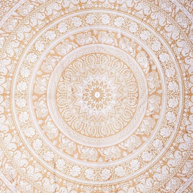 ホワイト&ゴールドラメマンダラ柄ラウンドブランケット レジャーシート&ソファーカバー・テーブルクロス【約190cm】 2 - 全体写真です
