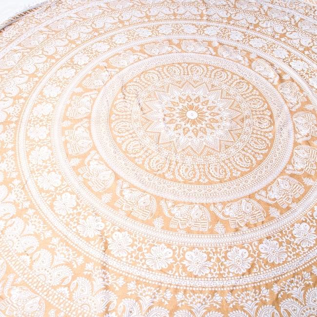 ホワイト&ゴールドラメマンダラ柄ラウンドブランケット レジャーシート&ソファーカバー・テーブルクロス【約190cm】 3 - とても大きく存在感があります