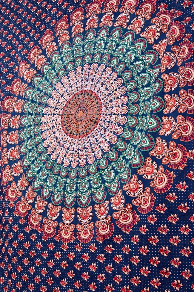 マルチクロス- ピーコックマンダラ【約205cm×約135cm】 3 - 非常にスケール感の大きい布地です。