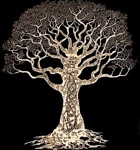 マルチクロス - ゴールドラメ 生命の樹 ツリー・オブ・ライフ〔約218cm×約207cm〕