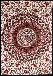 マルチクロス 円形 象と更紗模様〔192cm×132cm〕