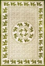 マルチクロス 円形 象と更紗模様〔196cm×134cm〕