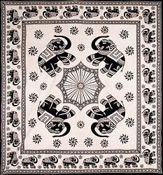 マルチクロス 象さん ナチュラル系〔208cm×228cm〕