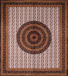 マルチクロス 円形 ペイズリーと更紗模様〔237cm×207cm〕