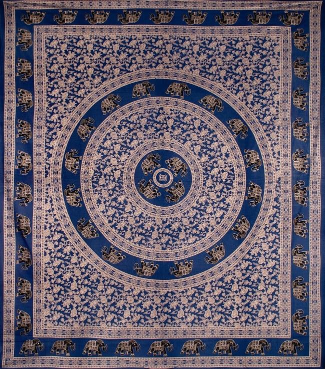 マルチクロス 円形 象と更紗模様〔234cm×202cm〕の写真
