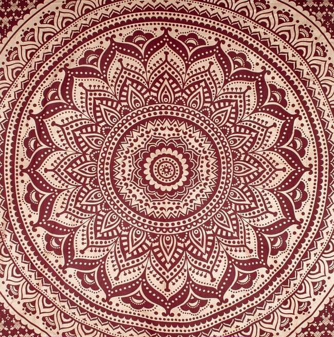 マルチクロス  赤茶&ゴールドラメマンダラ〔225cm×202cm〕 2 - 中心部分の拡大写真です。とても迫力があるデザインです。