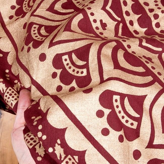 マルチクロス  赤茶&ゴールドラメマンダラ〔225cm×202cm〕 5 - 生地の拡大写真です。質感、雰囲気のある生地です。
