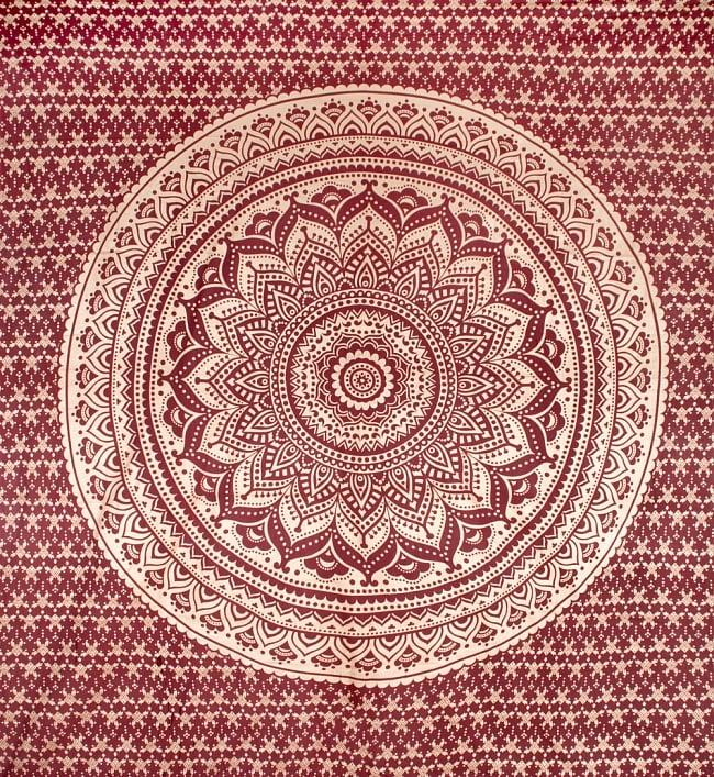 マルチクロス  赤茶&ゴールドラメマンダラ〔225cm×202cm〕の写真