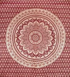 マルチクロス  赤茶&ゴールドラメマンダラ〔225cm×202cm〕の商品写真