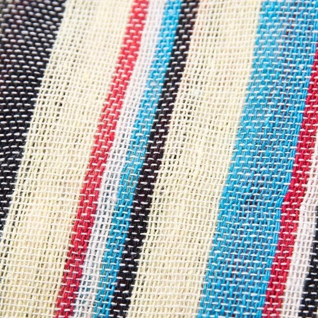 〔225cm×150cm〕柔らか手触りのイタワ織りマルチクロス - ブルー×レッド×イエロー 3 - インド現地でつくられています。どこか素朴さを感じる素敵な生地です。