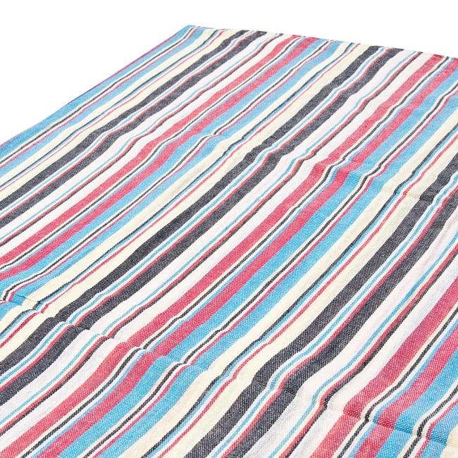 〔225cm×150cm〕柔らか手触りのイタワ織りマルチクロス - ブルー×レッド×イエローの写真