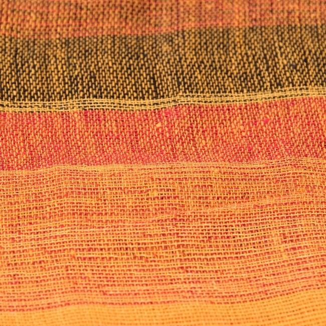 〔225cm×150cm〕柔らか手触りのイタワ織りマルチクロス - オレンジ 3 - インド現地でつくられています。どこか素朴さを感じる素敵な生地です。