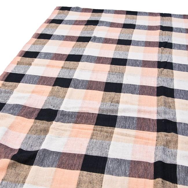 〔225cm×150cm〕柔らか手触りのイタワ織りマルチクロス - ブラック×ベージュの写真