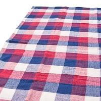 〔225cm×150cm〕柔らか手触りのイタワ織りマルチクロス - レッド×ブルー