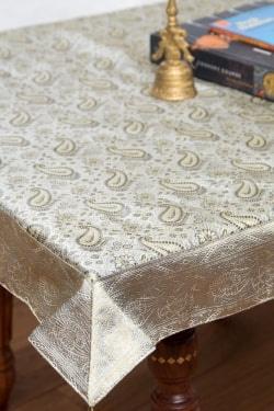〔約105cm×105cm〕インドの金糸入りテーブルカバー -ペイズリー×グレーの商品写真
