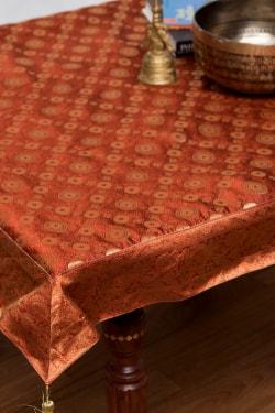 〔約105cm×105cm〕インドの金糸入りテーブルカバー -オレンジ×サークル