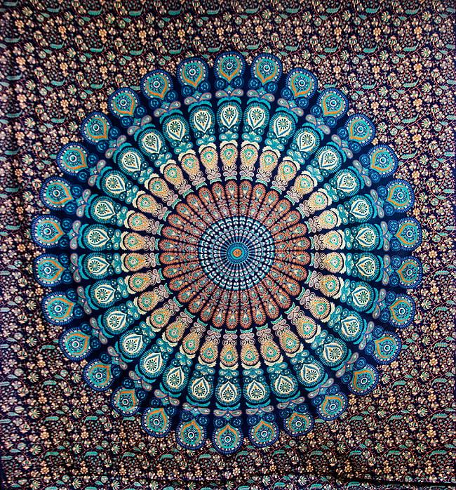 マルチクロス - ピーコックマンダラ【約228cm x 200cm】の写真