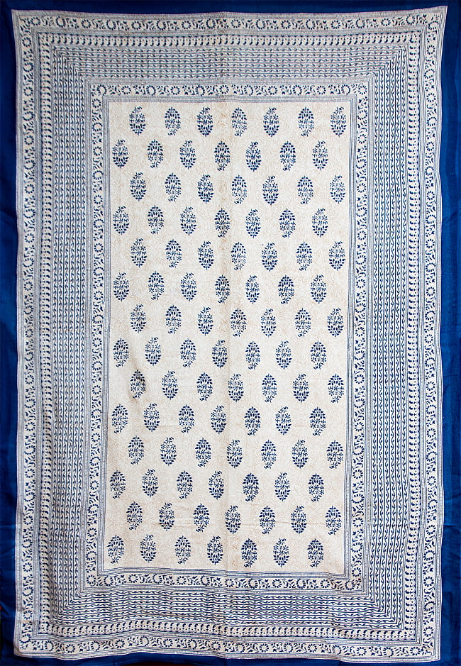 マルチクロス - ウッドブロックスタイル【約200cm x 136cm】 2 - No.1:青系の全体像です。