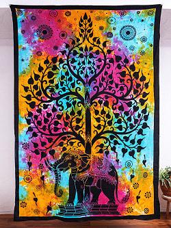 マルチクロス - 生命の樹 タイダイホーリーカラー〔約136cm×約198cm〕
