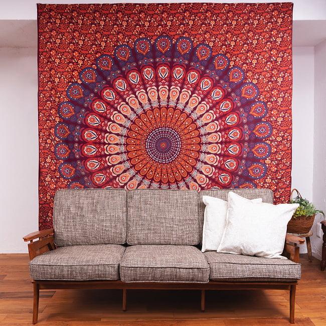 マルチクロス - オーン模様 タイダイホーリーカラー〔約200cm×約218cm〕 10 - 類似サイズ品を、ソファーの後ろに壁掛けしてみました。