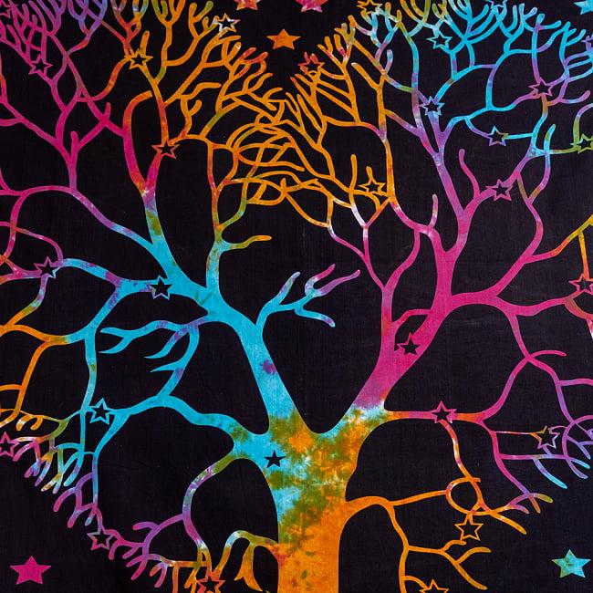 マルチクロス - 生命の樹 タイダイホーリーカラー〔約203cm×約221cm〕 4 - 拡大写真です