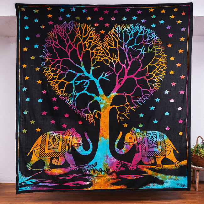 マルチクロス - 生命の樹 タイダイホーリーカラー〔約203cm×約221cm〕の写真