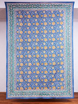 【自由に選べる3枚セット】ジャイプル職人手作り インド伝統の木版染め更紗マルチクロス〔225cm×155cm〕色彩豊かなボタニカルデザイン ベッドカバーやソファーカバー パーテーションなどへの写真