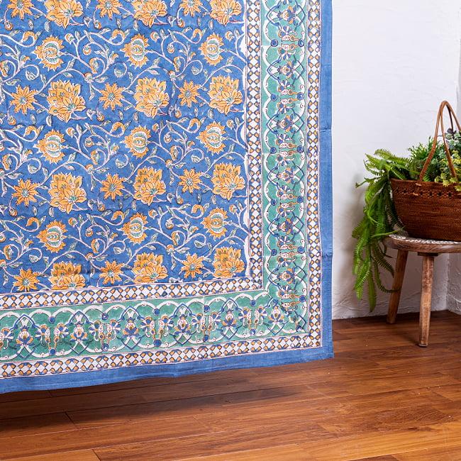 ジャイプル職人手作り インド伝統の木版染め更紗マルチクロス〔225cm×155cm〕色彩豊かなボタニカルデザイン ベッドカバーやソファーカバー パーテーションなどへ 7 - 縁の部分の写真です