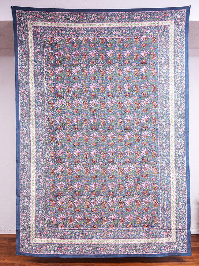 ジャイプル職人手作り インド伝統の木版染め更紗マルチクロス〔225cm×155cm〕色彩豊かなボタニカルデザイン ベッドカバーやソファーカバー パーテーションなどへの写真