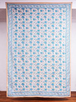 ジャイプル職人手作り インド伝統の木版染め更紗マルチクロス〔225cm×155cm〕色彩豊かなボタニカルデザイン ベッドカバーやソファーカバー パーテーションなどへ