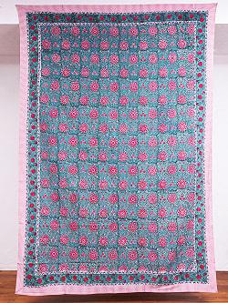 ジャイプル職人手作り インド伝統の木版染め更紗マルチクロス〔225cm×155cm〕色彩豊かなボタニカルデザイン ベッドカバーやソファーカバー パーテーションなどへの商品写真