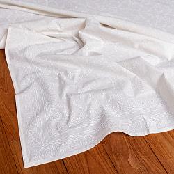 ジャイプル職人手作り サフェードのボタニカルデザイン インド伝統の木版染め更紗マルチクロス〔225cm×155cm〕ベッドカバーやソファーカバー パーテーションなどへ