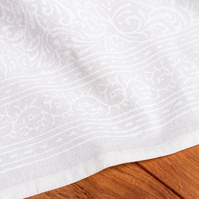 ジャイプル職人手作り サフェードのボタニカルデザイン インド伝統の木版染め更紗マルチクロス〔225cm×155cm〕ベッドカバーやソファーカバー パーテーションなどへ 7 - 縁の部分の写真です
