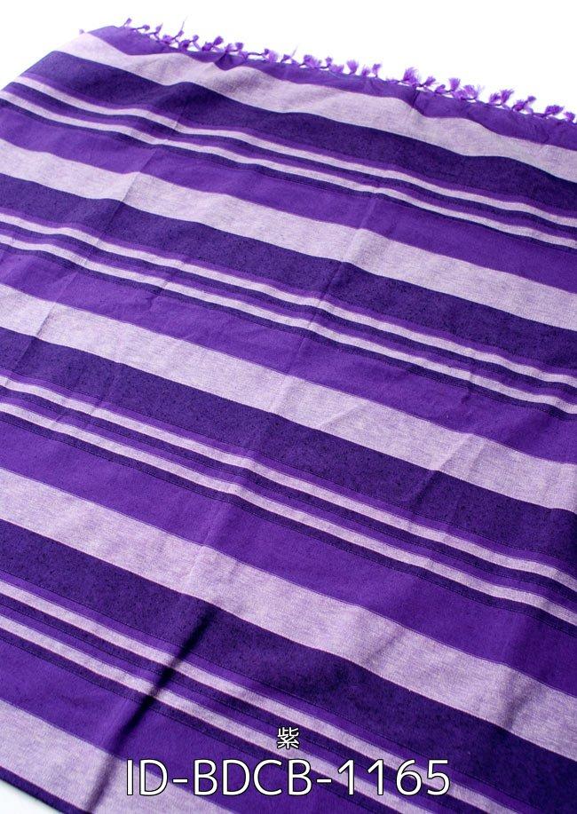 【自由に選べる6個セット】〔235cm×150cm〕カディコットン風マルチクロス - ストライプ柄 紫 2 - 〔235cm×150cm〕カディコットン風マルチクロス - ストライプ柄 紫(ID-BDCB-1165)の写真です