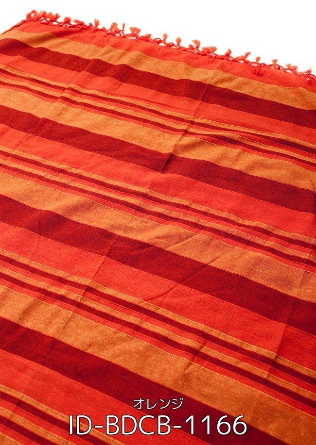 【自由に選べる6個セット】〔235cm×150cm〕カディコットン風マルチクロス - ストライプ柄 紫 3 - 〔235cm×150cm〕カディコットン風マルチクロス - ストライプ柄 オレンジ(ID-BDCB-1166)の写真です