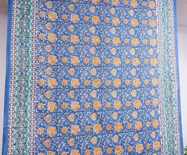 【自由に選べる3枚セット】ジャイプル職人手作り インド伝統の木版染め更紗マルチクロス〔225cm×155cm〕色彩豊かなボタニカルデザイン ベッドカバーやソファーカバー パーテーションなどへ 11 - 拡大写真です