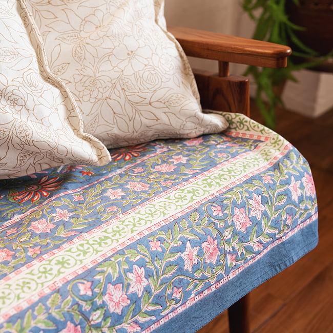 【自由に選べる3枚セット】ジャイプル職人手作り インド伝統の木版染め更紗マルチクロス〔225cm×155cm〕色彩豊かなボタニカルデザイン ベッドカバーやソファーカバー パーテーションなどへ 18 - とても雰囲気があります