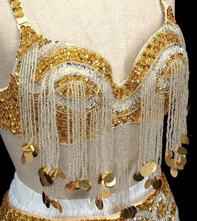 ベリーダンス衣装 スカート・ブラ 3点セット - 白 2 - 胸の部分を拡大しました。ビーズが綺麗に付けられています