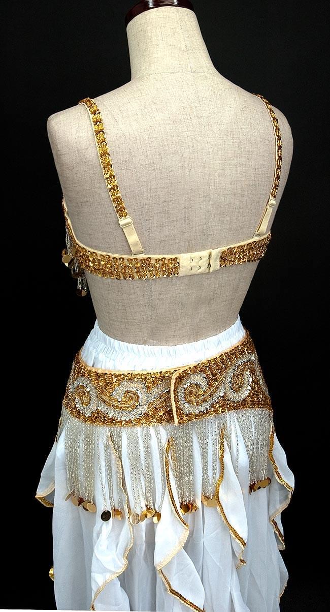 ベリーダンス衣装 スカート・ブラ 3点セット - 白 3 - 後ろはこんな感じです