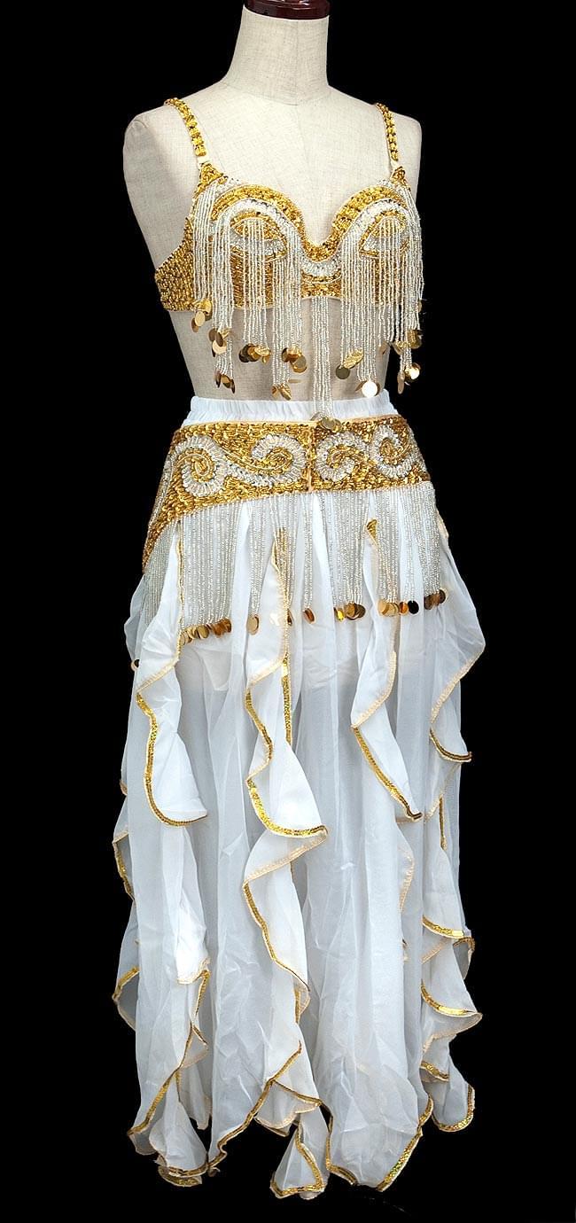 ベリーダンス衣装 スカート・ブラ 3点セット - 白の写真