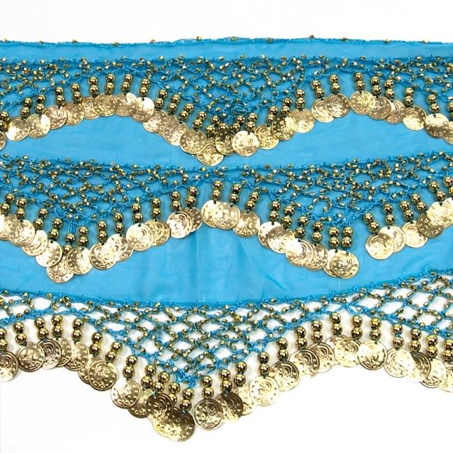 ベリーダンス ヒップスカーフ 250コイン - ターコイズ 3 - 拡大写真です