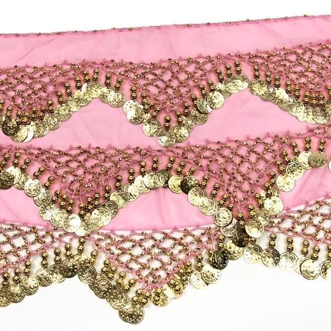 ベリーダンス ヒップスカーフ 250コイン - ピンク 3 - 拡大写真です