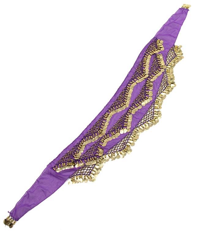 ベリーダンス ヒップスカーフ 250コイン - 紫 2 - 平らなところに広げてみました
